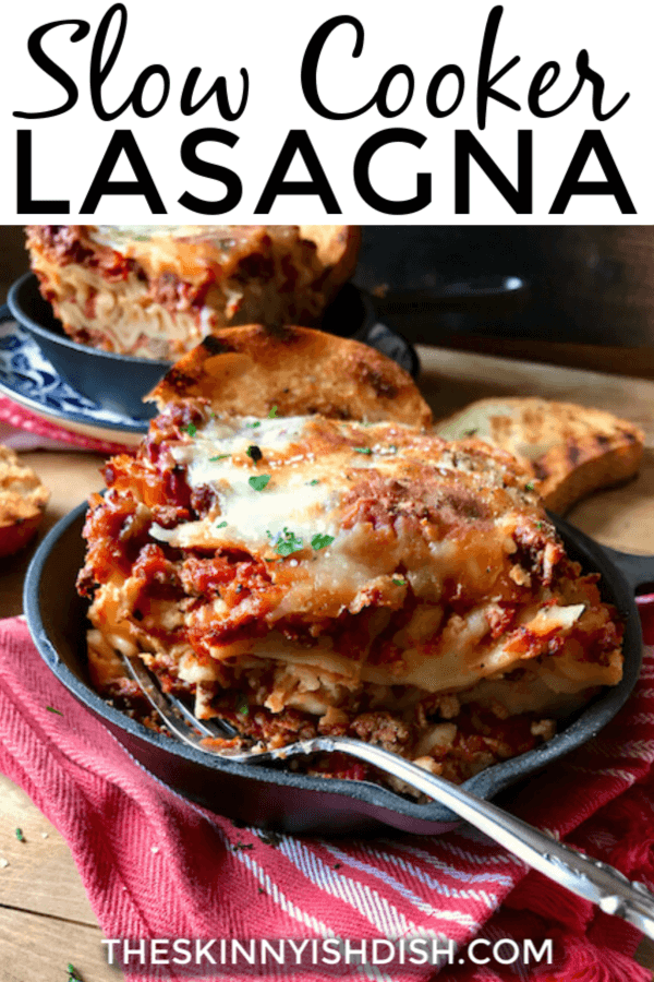 This easy Slow Cooker Lasagna will be one of your new favorite lightened up recipes!  A more healthy option than the old classic, it uses ground turkey, cottage cheese and the best spices and flavors!  It will be a hit in your home! #slowcooker #lasagna #ww