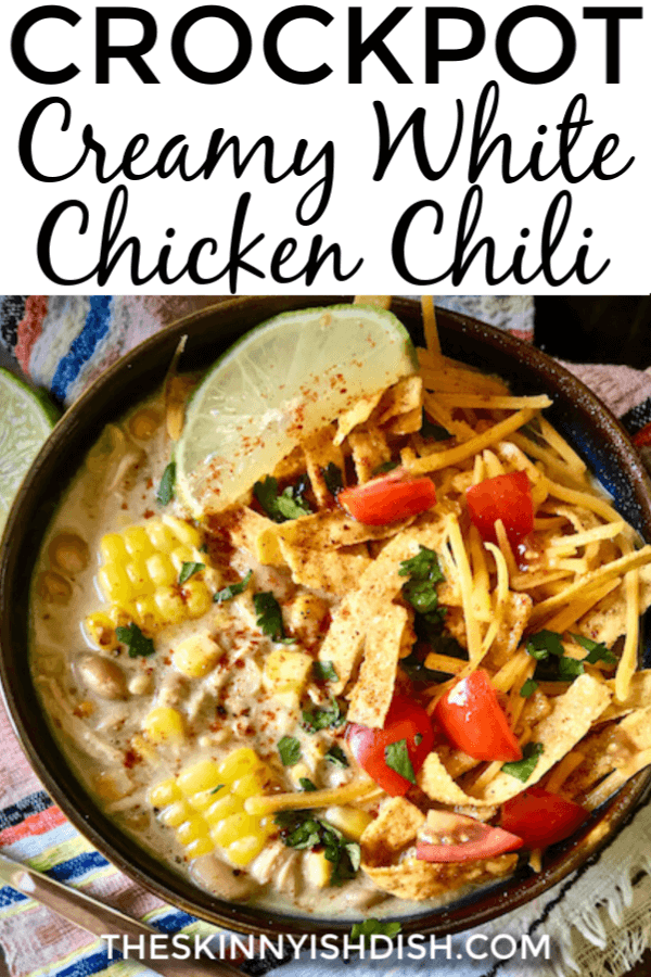 This easy Crockpot Creamy White Chicken Chili is the best recipe to assemble in the morning for a delicious dinner by night.  I've put my lightened up spin on this tasty recipe for a more healthy option for dinner tonight!  #whitechickenchili #chickenchili  #ww