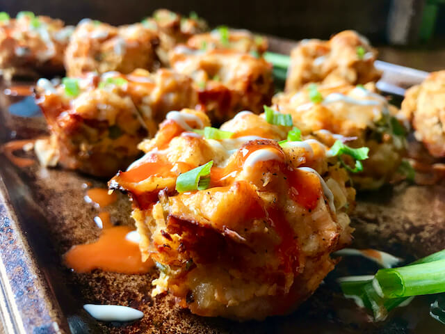 Buffalo Chicken Tater Tot Cups