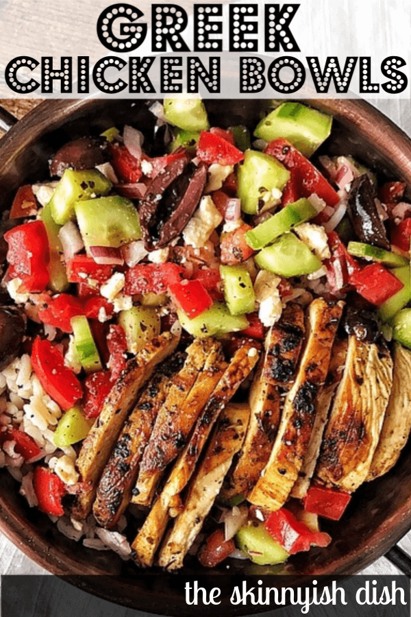 One of the most flavorful meal prep recipes around are these easy and healthy Greek Chicken Bowls.  Delicious warm chicken dressed with the greek tastes we all love; olives, cucumbers, olive oil, feta and more.  You'll love this fresh and delicious meal! #greek #chickenbowls #ww