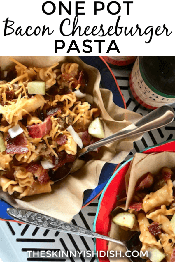 My lightened up One Pot Bacon Cheeseburger Pasta will become one of your favorite dinners.  Delicious pasta with the flavors you love in cheeseburgers; cheese, beef, bacon, pickles, ketchup, mustard and more.  These flavors combine for a knock-out dinner that will be requested by families all around!   #onepot #baconcheeseburger #pasta  #freestylesmartpoints #ww