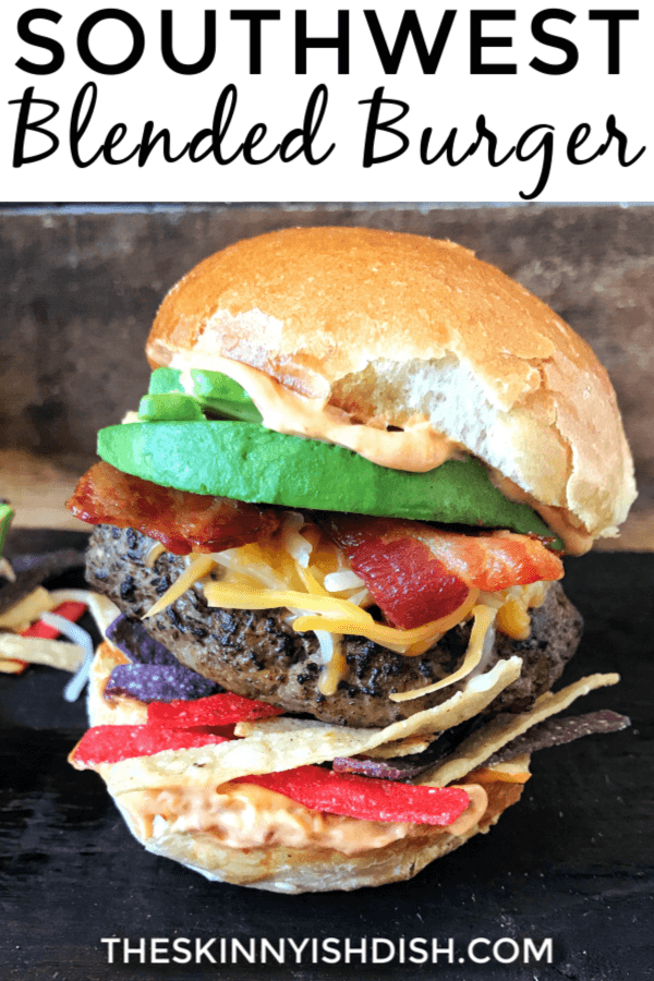 This Southwest Blended Burger was created using a 75:25 meat to mushroom ratio. By cutting down a bit on the meat we're saving calories, maximizing flavor, and helping our planet out.  They are so juicy and delicious and will be your new go-to burger this season! #burger #blendedburger