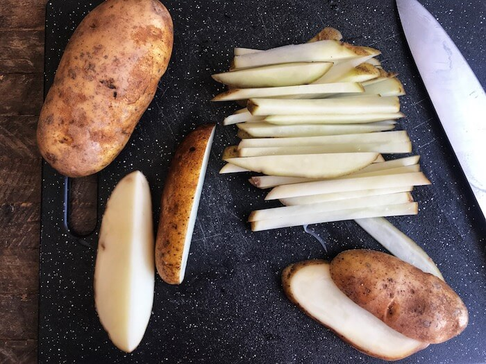 Russet Potatoes cut up for Air Fryer Crispy French Fries