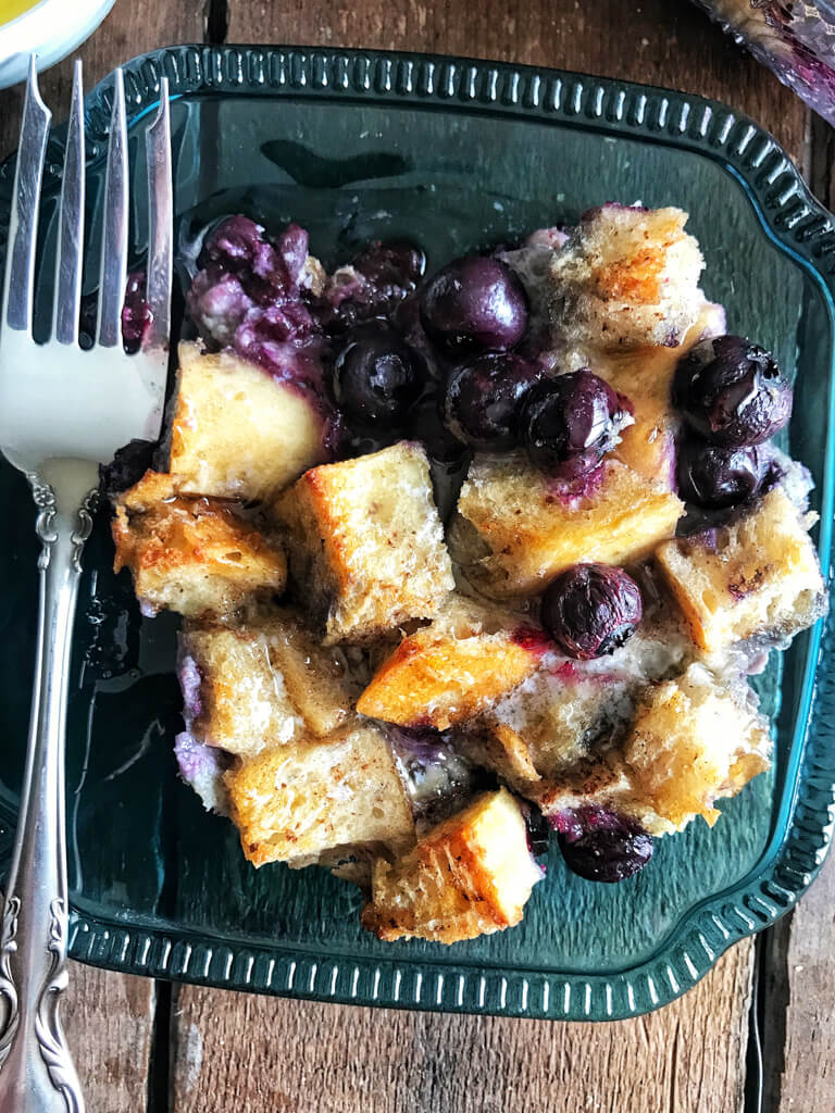 Blueberry French Toast Bake on blue plate with fork