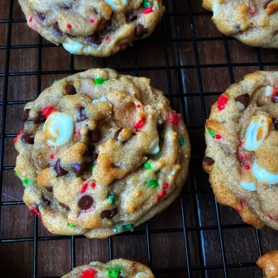 christmas chocolate chip cookies on a cooling rack